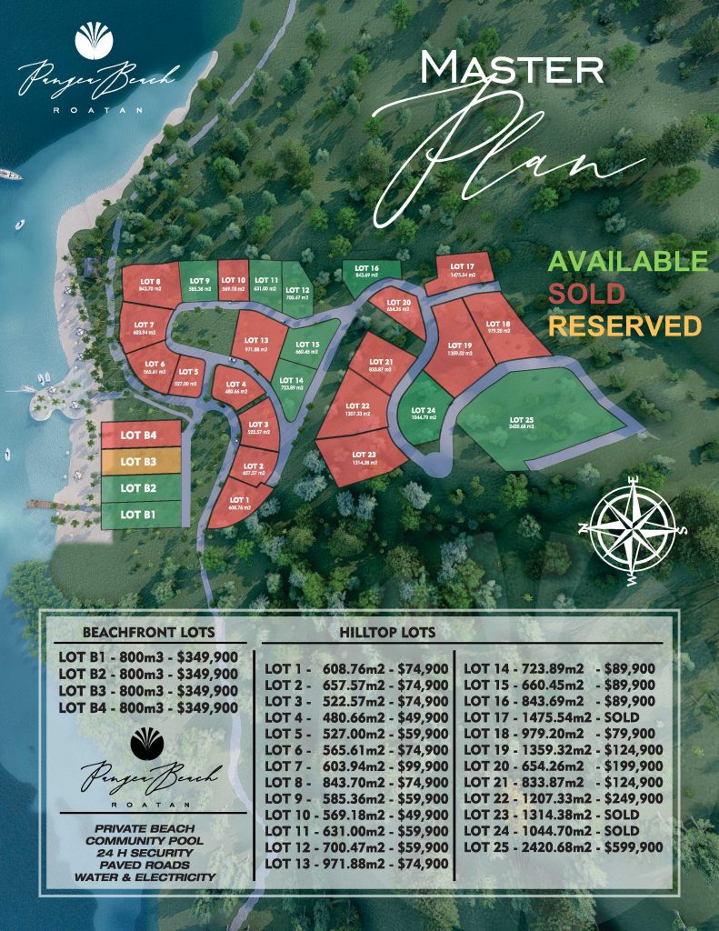 Roatán Houses for Sale, Plat Map of Available and Sold Houses